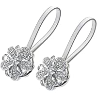 Sycle circle Magnetic Curtain Tie Backs, Decorative Flower Crystal Curtain Holdbacks for Bedroom, Living Room, Office (2 Pack Silver)