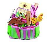 Tierra Garden Juego de jardinería para niñ 7-LP380. Incluye: pala de mano, horca de mano, guantes, marcador para plantas, y cubo. Color rosa, rosa
