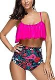 MEMORY BABY Bikini Mujer Push up Impresión Traje de baño Conjuntos Cintura Alta Bañador(Rojo Rosa,XXL)