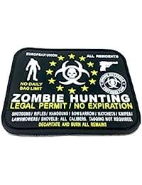 Permiso Legal Caza del Zombi de la UE Todos los residentes de PVC Airsoft Velcro Patch Negro