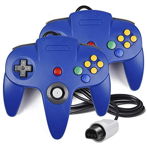 iNNEXT 2Stück N64Controller, Classic Draht N6464-Bit Gamepad Joystick für Ultra 64Video Game Konsole N64System Mario Kart (Blau)