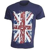 Herren Freizeit T-Shirt mit England Union Jack Aufdruck, kurzärmlig, 100% Baumwolle (M: 97cm - 102cm) (Marineblau)