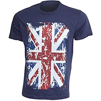 Mens Union Jack GB Print 100% Cotton Short Sleeve Casual T-Shirt/Top (S - 34inch - 36inch) (Navy)