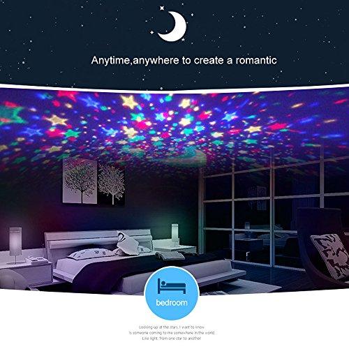 Ecandy 360° drehbarer 3 Modus Lichtprojektor, Romantisches Kosmos Sternhimmel für Schlafzimmer, Nachtlicht für Kinder, Babys, Weihnachtsgeschenk, Liebhaber, USB/Battierie betrieben.(blau) - 4