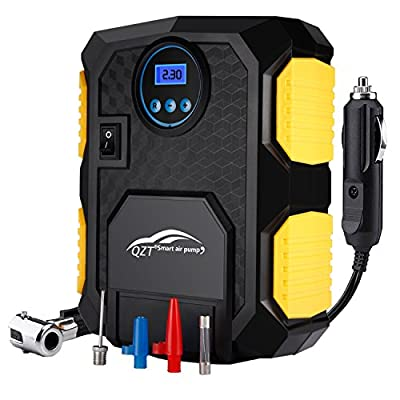 QZT Portable Car Tyre Inflator Pump with LED Lamp Digital Pressure Gauge 150 PSI 3 Valve Adapters, 3M Cord with 12V DC Cigarette Plug