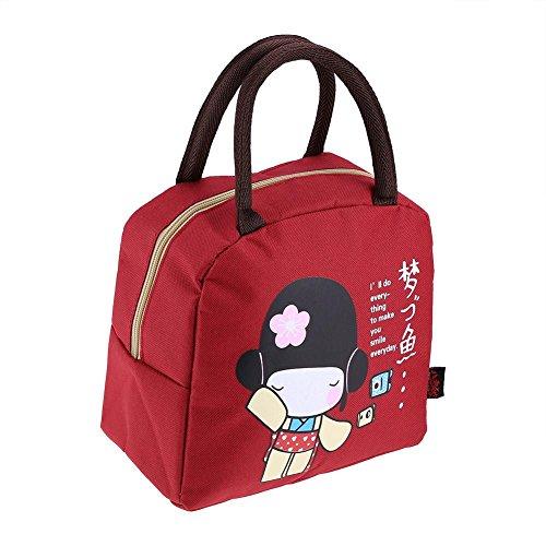 Zerodis Lunchtasche für Picknick, japanischer Stil, für Lebensmittel, 23 x 14 x 21 cm Rot