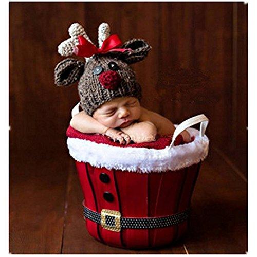 58def87c8 Recién nacido fotografía apoyos bebé niña Crochet trajes trajes de Navidad  ciervos
