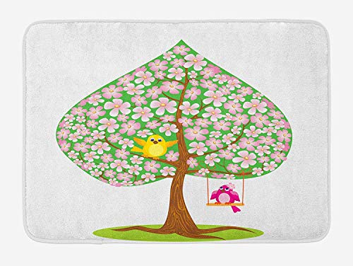 FAFANIQ Animal Bath Mat, Heart Shape Spring Tree with Flowers Blossom and Singing Bird Valentine's Love, Plush Bathroom Decor Mat with Non Slip Backing, 23.6 W X 15.7 W Inches, Pink Green Brown -