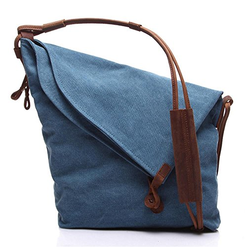 WalkingToSky Unisex Umhängetaschen, New Classy Casual Canvas Taschen Einfache Art Messenger Shouder Handtasche Cross Body Hobo Bags Fashion Tasche für Studenten, Reisende, Männer und Frauen(Blau) - Mann Für Tasche Shouder