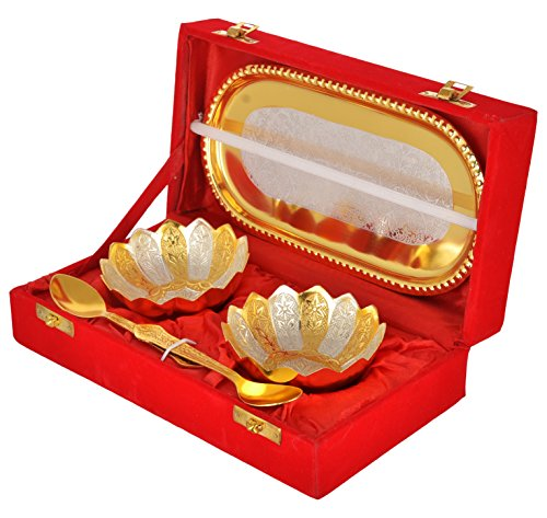 Odishabazaar Gold & Silver Plated floral bowls and Spoon with Octagan Tray