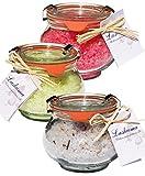 Wellness Badesalz Set im Glas, Lavendel mit Lavendelblüten, Granatapfel und Melisse, Badezusatz Totes Meer Salz im Weck Schmuckglas 3 x 250 g