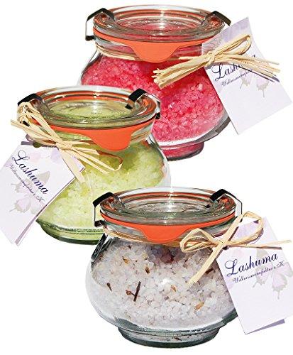 Lashuma Badesalze Wellness Badesalz Set im Glas, Lavendel mit Lavendelblüten, Granatapfel und Melisse, Badezusatz Totes Meer Salz im Weck Schmuckglas 3 x 250 g