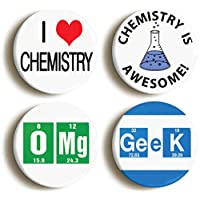 CHEMISTRY AWESOME SCHOOL SCIENCE BADGE BUTTON PIN SET (Size is 1inch/25mm diameter)