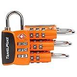 Candado para Equipaje TSA – Candado para Viaje de combinación de cable con alerta de búsqueda para Maleta y Mochila - 4 Paquetes de candado (Naranja)
