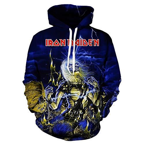 Unisex Iron Maiden Sudaderas Suéter de Manga Corta con Cuello Redondo, Estilo suéter, Manga Corta, Cuello Redondo, para Hombre. Iron Maiden Sudaderas con Capucha (Color : A02, Size : L)