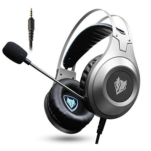micolindun Gaming Headset für PS4Xbox One, 3,5mm Over Ear Gaming Kopfhörer mit Mikrofon, Stereo, Bass Surround, Geräuschreduzierung und Y Splitter für Laptop, PC, Mac, iPad, Computer, Smartphones silber silber 7.72*4.17*8.90 in