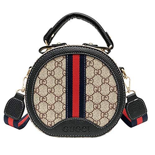 Ldyia Tasche Frauentasche runde Tasche Damen Retro runde Umhängetasche Druck tragbare Umhängetasche, schwarz