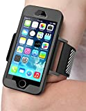 iPhone SE Armband, SUPCASE Easy Fitting Sport Running Armband with Premium Flexible Case Combo for Apple iPhone SE 2016 Release (Black) (Black)