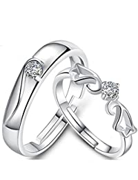 Moneekar Jewels Sterling Silver Plated Square and Heart Shaped Swarovski Cubic Zirconia Rings for Men and Women