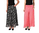 2Day Women's Georgette Butterfly Print and Polka Parallel Palazzo(Pack of 2) (2DE PCK2 GP 1.1-$P_Multicolor_30)