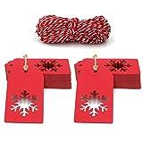 Etiquetas de regalo de Navidad, Etiquetas de Navidad rojas de 9,5 x 5 cm, Etiquetas rectangulares de 100 PCS con un hermoso copo de nieve hueco para el día de Navidad con 100 pies de yute