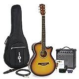 Pack Guitare Electro Acoustique Pan Coupé Simple Sunburst + Ampli 15W par Gear4music