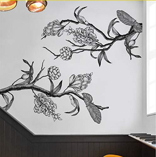 Schwarz Weiß Blume Wandaufkleber Home Decor Poster Flora Wohnzimmer Tv Hintergrund Wand Schöne Dekoration ()