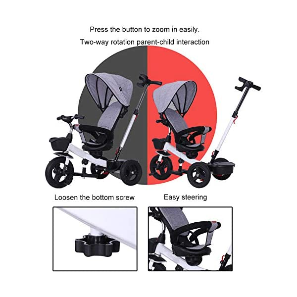 BGHKFF 4 In 1 Childrens Tricycles 1 To 5 Years 360° Swivelling Saddle 2-Point Safety Belt Children's Pedal Tricycle Folding Sun Canopy Children's Hand Push Tricycle Maximum Weight 50 Kg,Green BGHKFF ★Material: High carbon steel frame, suitable for children aged 1-5, maximum weight 50 kg ★ 4 in 1 multi-function: can be converted into a stroller and a tricycle. Remove the hand putter and awning, and the guardrail as a tricycle. ★Safety design: golden triangle structure, safe and stable; 2 point seat belt + guardrail; rear wheel double brake 3