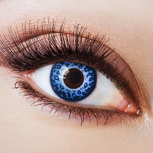 Farbige Kontaktlinsen Blau Ohne Stärke Blaue Crazy Weiche Motiv-Linsen Farbig Halloween Karneval Fasching Cosplay Kostüm Blue Leopard Tier (Tiger Scary Kostüm)
