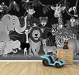 Vlies Fototapete - Kindertapete Wilde Tiere im Dschungel - Cartoon - schwarz weiss - 360x270 cm - inklusive Kleister - Tapetenkleister – Bild auf Tapete – Bildtapete – Foto auf Tapeten – Wand – Wandtapete – Vliestapete – Wanddeko - Design