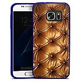 Samsung Galaxy S7 Slim Case transparent blau Silikon Hülle Schutzhülle Leder Muster Sofa Leder Couch Look