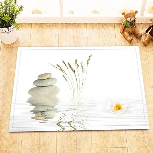 LB Piedras y Loto Blanco en el Agua sobre Fondo Blanco/Zen/SPA,Alfombra de baño,16 × 24 Inch