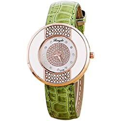 Rhinestone Wrist Watch - Gerryda Fashion Women Watch Leather Band Sport Analog Quartz Wrist Watch, Green