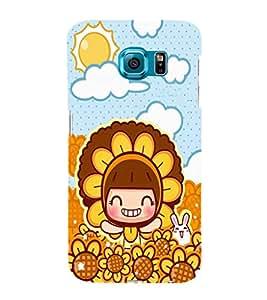 EPICCASE Sunflower girl Mobile Back Case Cover For Samsung Galaxy S6 Edge (Designer Case)