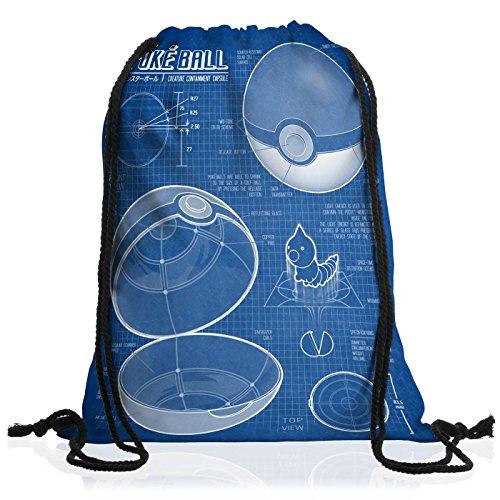 A.N.T. Poké Ball Cianografia Borsa da spalla sacco sacchetto drawstring bag gymsac mostri videogioco