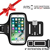 PORTHOLIC Universal Sweat Resistant Sports Armband For iPhone 7,iPhone 6,iPhone 6s, Samsung S7/S6/S5, Huawei Nexus Android With Screen Up to 5.1 inches -Extension Strap- For Running,Jogging,Hiking,Biking With Key&Cards Holder, Cable Locker (BLACK)