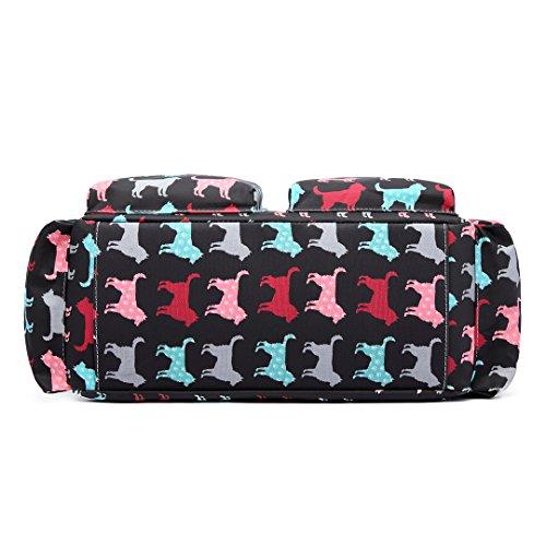 Miss Lulu, 4-teiliges Wickeltaschenset, mattes Wachstuch, geblümt und gepunktet oder andere Motive (schottischer Terrier, Schmetterlinge, Katzen, Elefanten), beige - Cat Beige - Größe: L New Dog Black