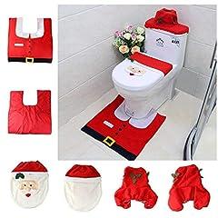 Idea Regalo - Asamoom 3 Decorazioni di Natale Babbo Sedile WC Coperchio e Tappeto & Scatola del Tessuto