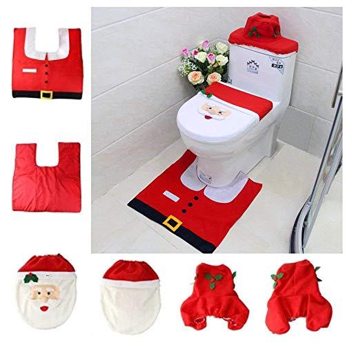 Asamoom 3 decorazioni di natale babbo sedile wc coperchio e tappeto & scatola del tessuto