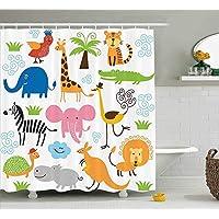 AORSTAR d¨¦cor Animal Shower Curtain, Cute Giraffe Elephant Zebra Turtle Kids Nursery Baby Themed Cartoon Comic Print, Eco-Friendly Tie-Dye Decor 60 x 72 Inches Long, Multicolor