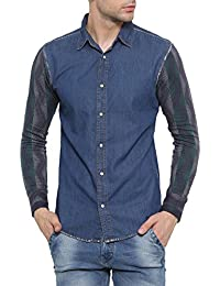 [Sponsored Products]SHOWOFF Mens Blue Solid Casual Denim Shirt