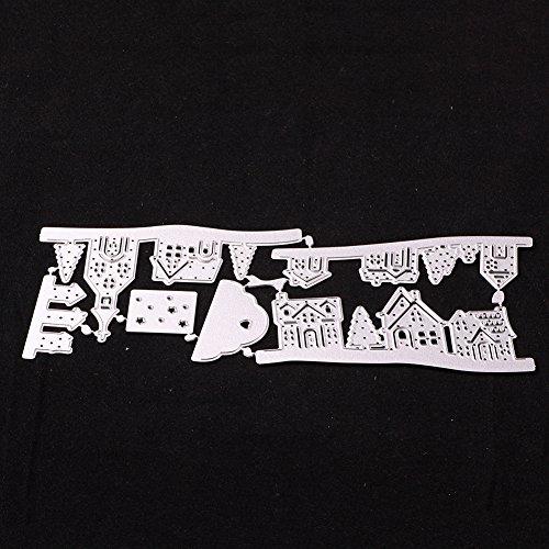 zmigrapddn Formen, Scrapbook Spiegel Design Lovely House Cloud Prägung DIY Papier Formen Scrapbooking Kunststoff Prägeschablone Handwerk Papier Kunst Vorlage, Karbonstahl, Silber, Einheitsgröße -