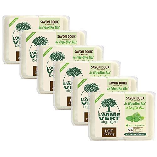 L'arbre vert Savon Solide Menthe-Basilic 2 x 100 g - Lot de 6