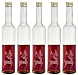 10 leere Glasflaschen Weihnachtsflaschen 350ml klar mit Gravur Rentier weihnachten Likörflaschen Schnapsflaschen Flaschen aus Glas zum selbst befüllen von feiner-Tropfen