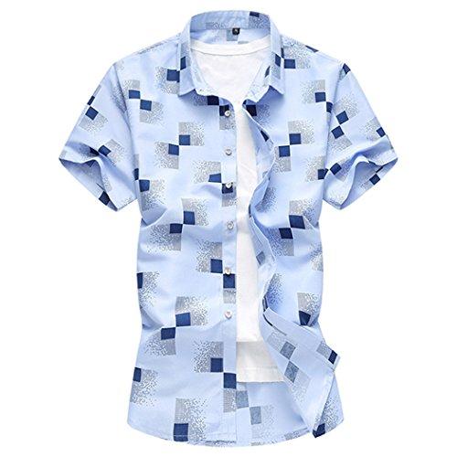 Jing camicia camicia casual da uomo estiva xl con stampa spiaggia, azzurro cielo, l