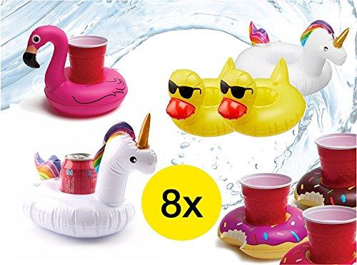 TK Gruppe Timo Klingler 8x aufblasbarer schwimmender Getränkehalter Halter Einhorn Ente Flamingo Donut aufblasbarer Unicorn Luftmatratze für Wasser, Pool, Strand, Schwimmband Getränke und Cocktails