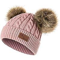 Cappello Bambina Topgrowth Berretti Invernali Ragazza Crochet Cappello A  Maglia Bimbo Caldo Cappello Doppio PON di aa09d4d1d3f3