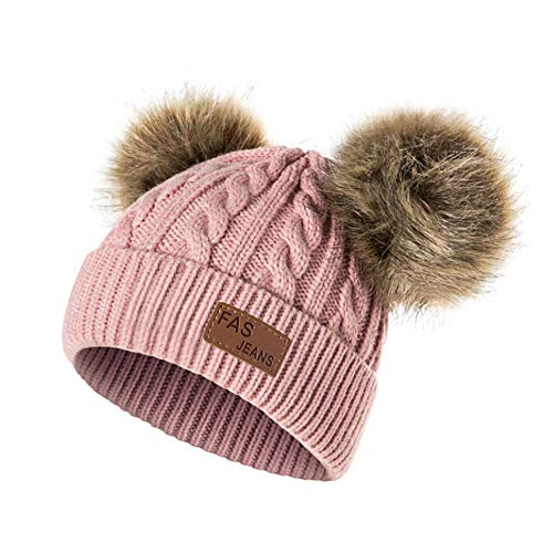 Cappello bambina topgrowth berretti invernali ragazza crochet cappello a maglia bimbo caldo cappello doppio pon di pelliccia bambino unisex (rosa)