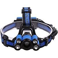 Lampe frontale LED, 5 phares  LED, 4 modes, éclairage extérieur puissant, lumière de pêche imperméable et rechargeable.