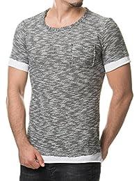 VIP Clothing Herren Strick T-Shirt Weiß Fransen Grau meliert 1322
